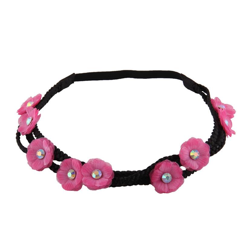 3-layer chiffon flower wreath elastic headband 00652
