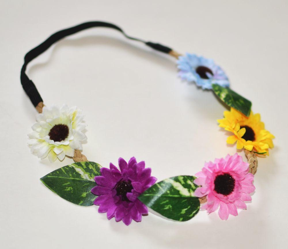 Artificial flowers elastic headband 00679