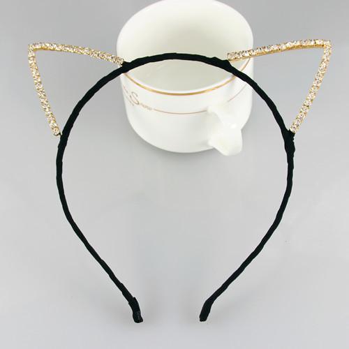 Chiffon fabric shiny gems cat ears headband
