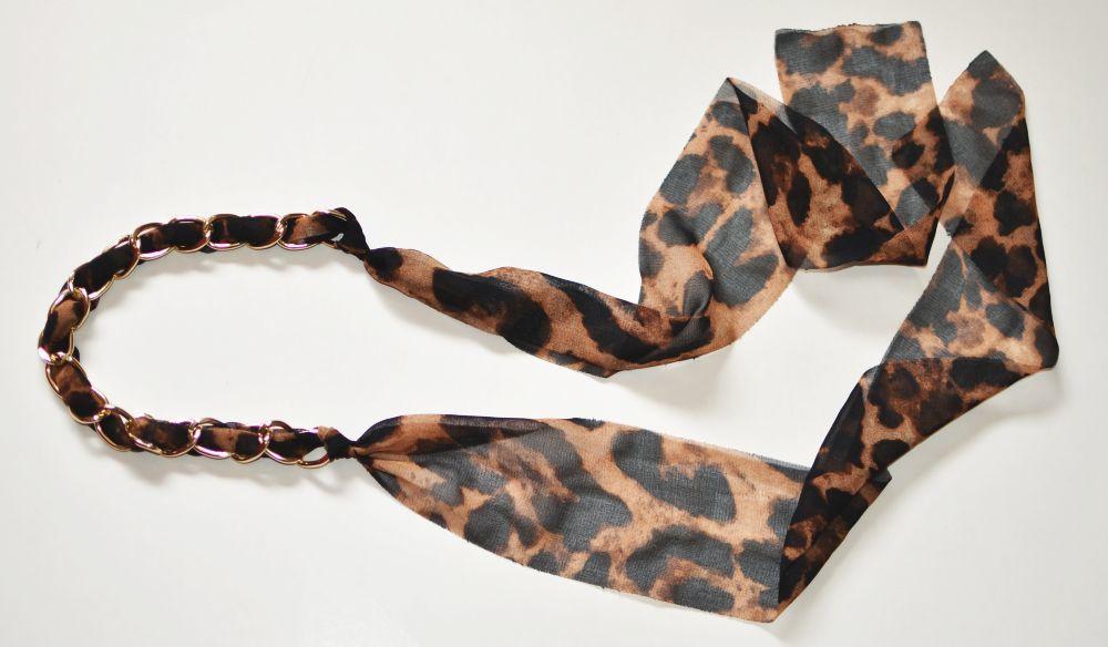 Gold-chain chiffon long ribbon head scarf 00709