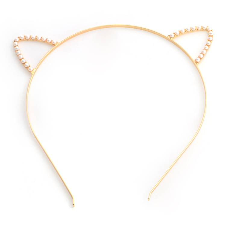 White pearls small ears headband 00722