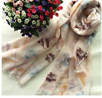 Pretty icon beige white long scarf 00831