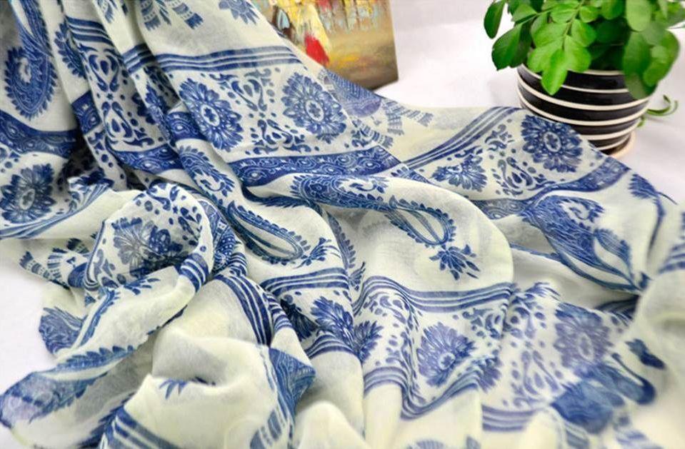 White blue totem flower long scarf