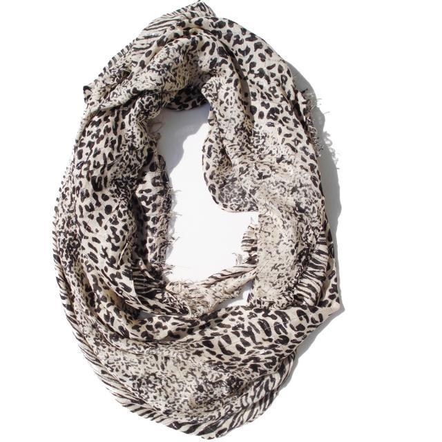 Beige black leopard extra long scarf 00834