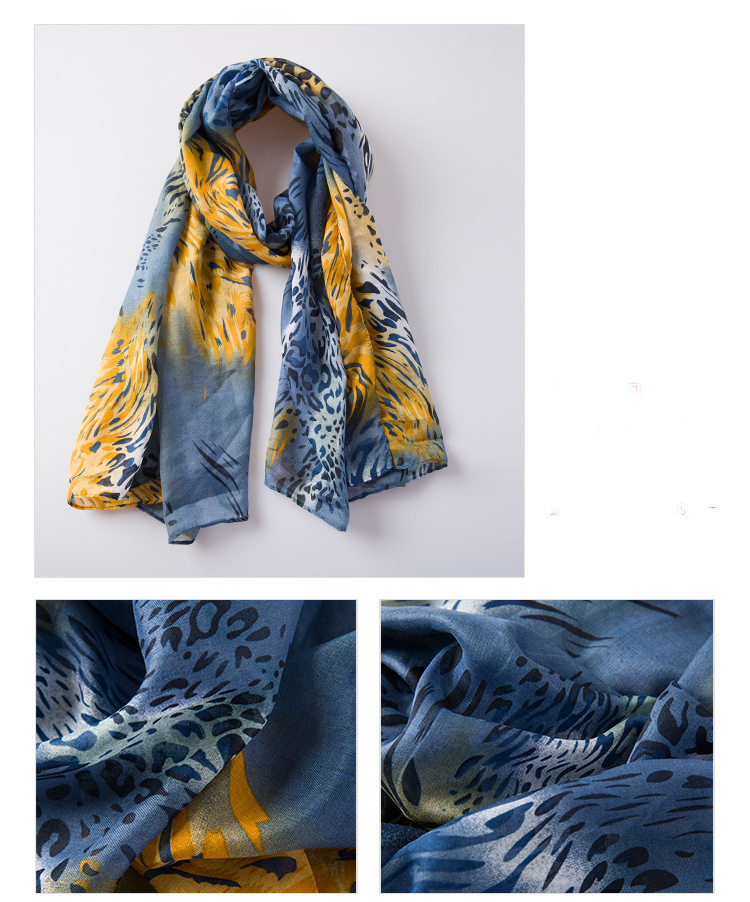 Yellow Grey Leopard Long Scarf Infinity Scarves Amp Shawls