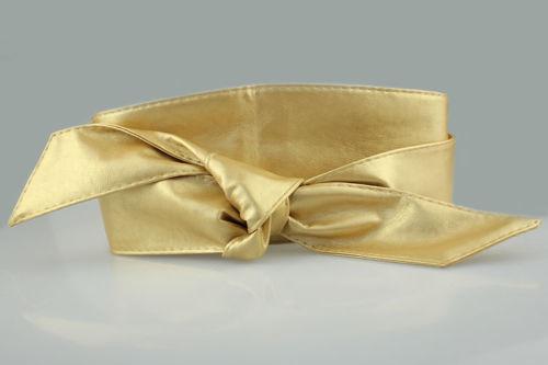 PU wide ribbon tie-up belt 00921