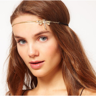 Dragonfly shiny crystals front head headband