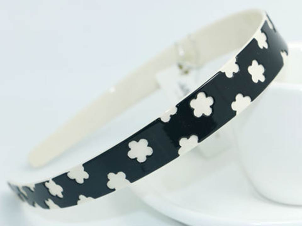 Black white flowers Acylic headband 00995