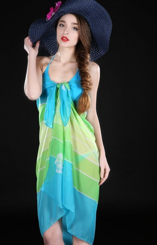 Green butterfly print bikini wrap
