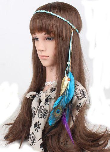 Gold leaves Peacock feather elastic headband