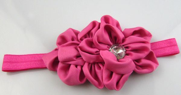Satin flowers elastic headband