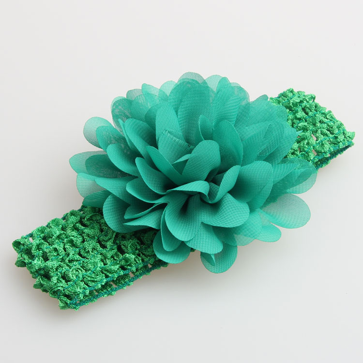 Chiffon large flower lace stretch headband