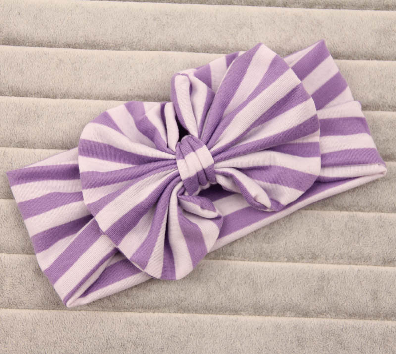 Strips cotton large bow headband