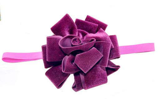 Purple velvet flower bow elastic headband