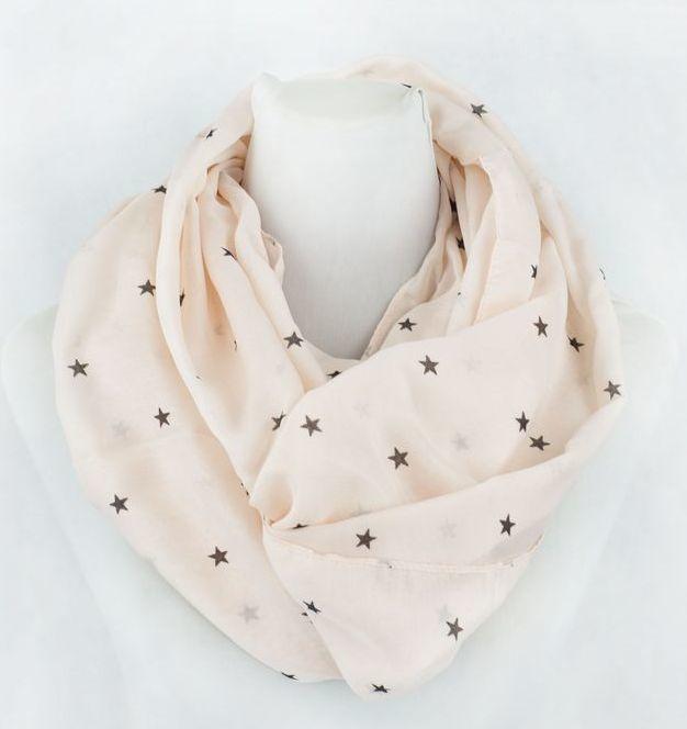 Light pink little stars infinity scarf