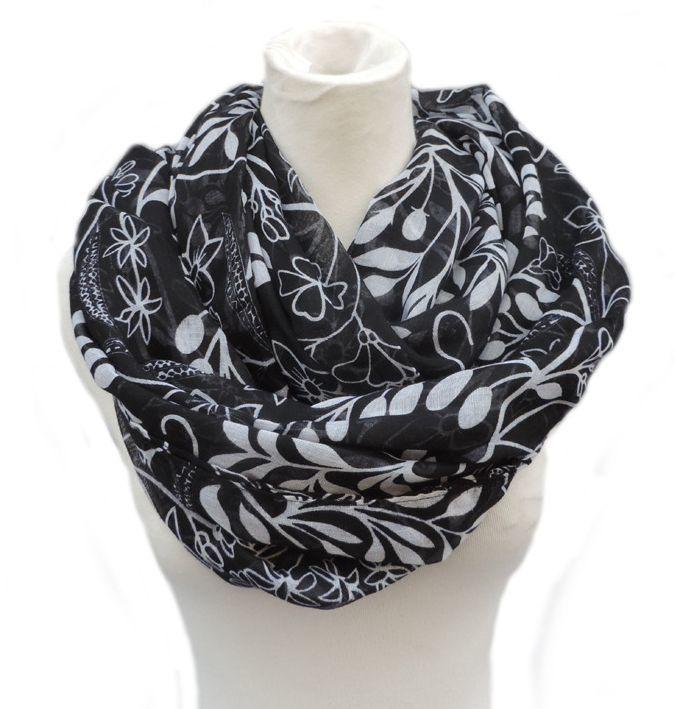 Elegant floral infinity scarf