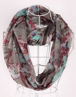 Grey ink paint infinity scarf
