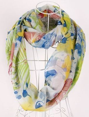 Green flowers print infinity scarf
