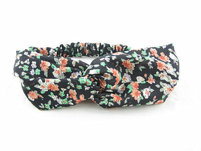 Black floral turban headband