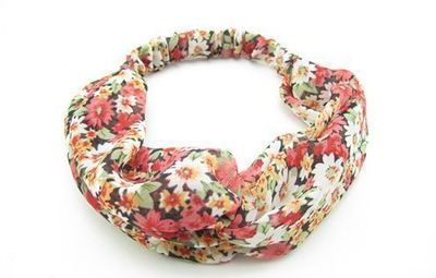 Red floral turban headband