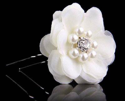 Ivory white round petals flower stick