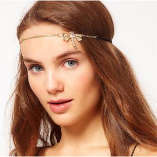 Dragonfly shiny crystals front head headband