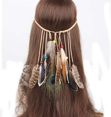 Multi-layered brown & peacock feather band