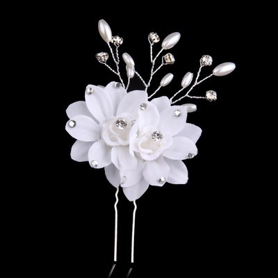 White twin-flower hair stick