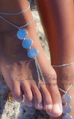 Silver floral coin pieces foot chain