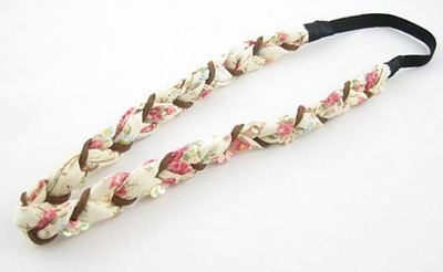 Cotton flower sequins braided elastic headband