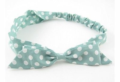 White dots green chiffon ribbon elastic headband