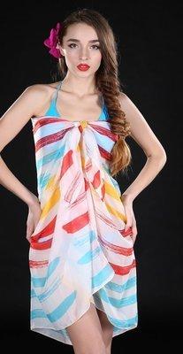 Rainbow strips print bikini wrap