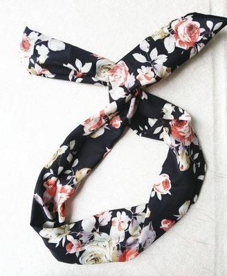 Black flowers twist hair scarf