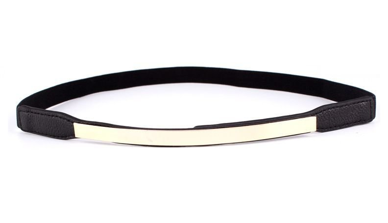 Mirror plated slim stretch belt
