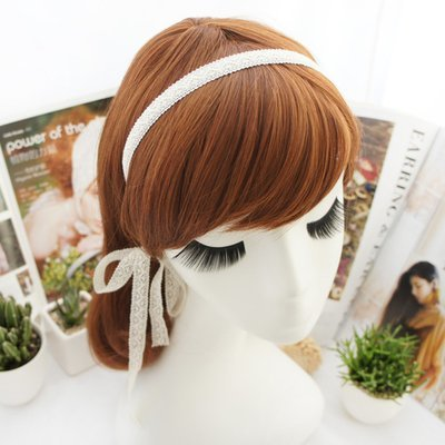 White lace long ribbon headband