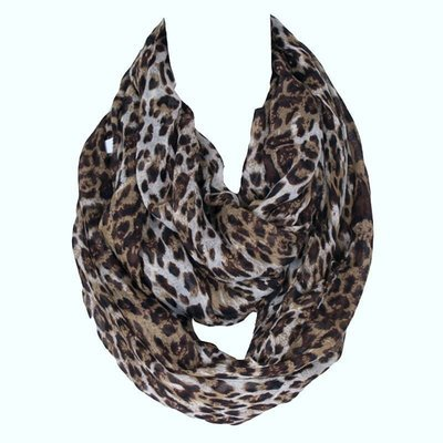 Large coffee leopard infinity scarf