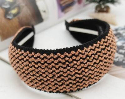 Pink-tinsel black-knitted extra-wide headband