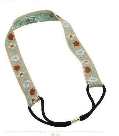 Cotton flower-embroidered headband 00135