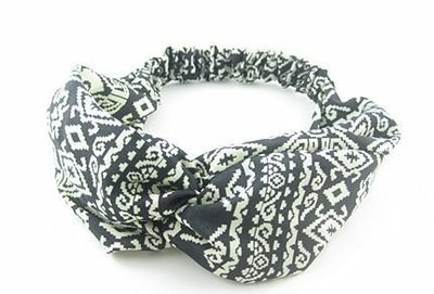 Black white totem turban headband