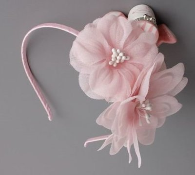 Pink twin flowers headband