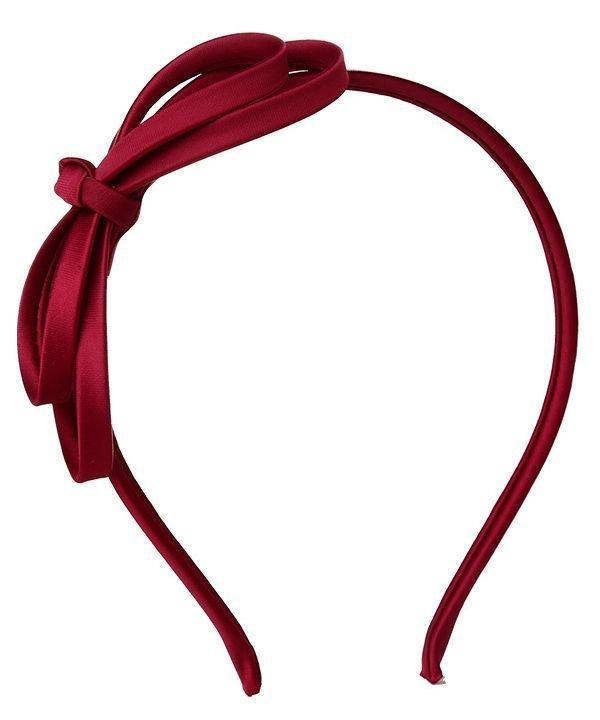 Wine red satin bow headband