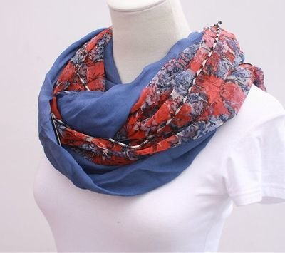 Floral lace solid colour mix infinity scarf