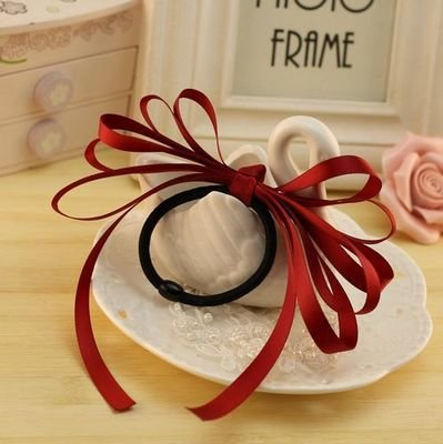 Multi-layered satin ribbon hair tie