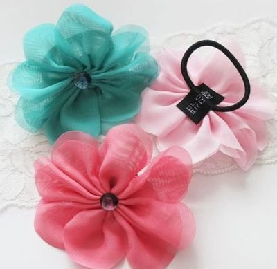 Summer chiffon flower hair ring
