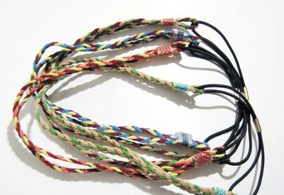 Mixed colour braided double-wrap elastic headband