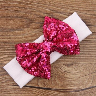 Glitter bow cotton headband