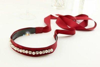 Satin-ribbon long-tail headband