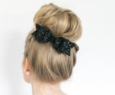 Glitter bow hair barrette