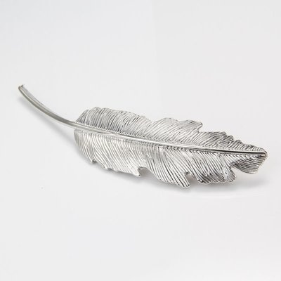 Metallic feathers hair barrette