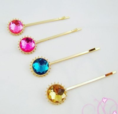 Sun-burst crystal bobby pin